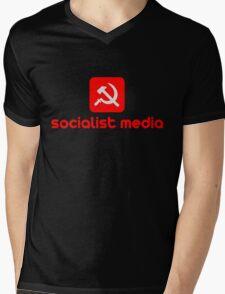 socialist media Mens V-Neck T-Shirt
