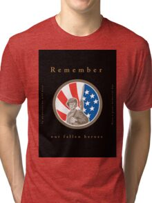 Memorial Day Greeting Card American WWII Soldier Flag Tri-blend T-Shirt