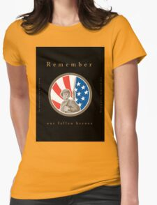 Memorial Day Greeting Card American WWII Soldier Flag Womens Fitted T-Shirt
