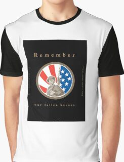 Memorial Day Greeting Card American WWII Soldier Flag Graphic T-Shirt