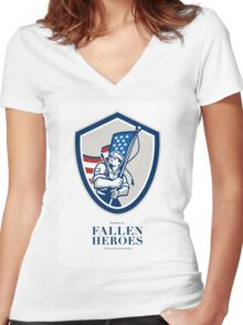 Memorial Day Greeting Card American Soldier Waving USA Flag Women's Fitted V-Neck T-Shirt