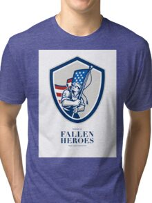 Memorial Day Greeting Card American Soldier Waving USA Flag Tri-blend T-Shirt
