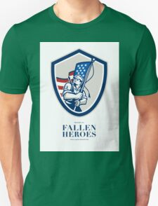 Memorial Day Greeting Card American Soldier Waving USA Flag Unisex T-Shirt