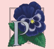 P is for Pansy - small patch Kids Tee