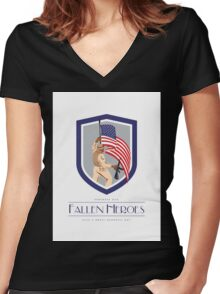 Memorial Day Greeting Card Soldier Military Holding Flag Rifle Women's Fitted V-Neck T-Shirt