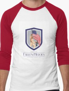 Memorial Day Greeting Card Soldier Military Holding Flag Rifle Men's Baseball ¾ T-Shirt