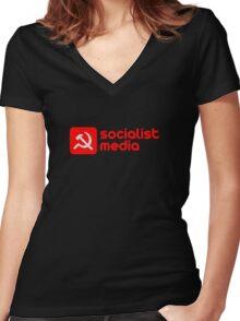 socialist media Women's Fitted V-Neck T-Shirt
