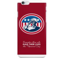Memorial Day Greeting Card African American Soldier Salute Flag iPhone Case/Skin