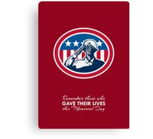 Memorial Day Greeting Card African American Soldier Salute Flag Canvas Print