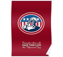 Memorial Day Greeting Card African American Soldier Salute Flag Poster