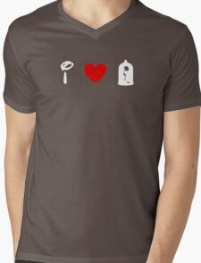 I Heart Beauty and The Beast (Classic Logo) (Inverted) Mens V-Neck T-Shirt