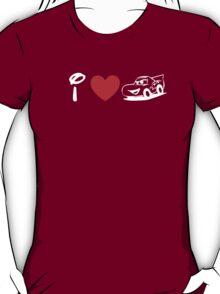 I Heart Cars Land (Classic Logo) (Inverted) T-Shirt