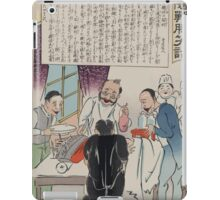 Human figure with Russian battleship for a head being operated on by Japanese surgeons 00641 iPad Case/Skin