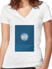 Memorial Day Greeting Card Soldier Military Salute Circle  Women's Fitted V-Neck T-Shirt