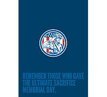 Memorial Day Greeting Card Soldier Military Salute Circle  Photographic Print