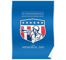 Memorial Day Greeting Card Soldier Blowing Bugle Flag Shield Poster