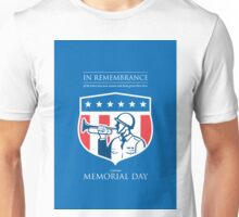 Memorial Day Greeting Card Soldier Blowing Bugle Flag Shield Unisex T-Shirt