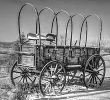 Abandoned Wagon B&W by Ken Smith
