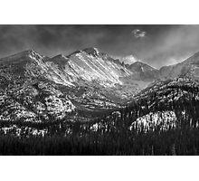 Longs Peak B&W Photographic Print