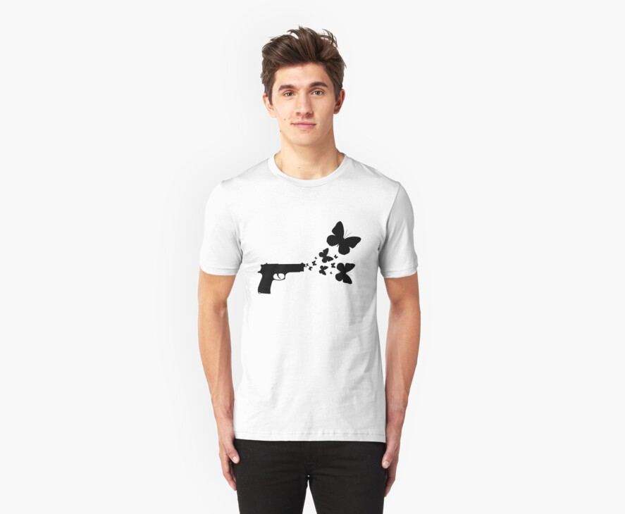 Butterfly Gun Black T Shirt by Fangpunk
