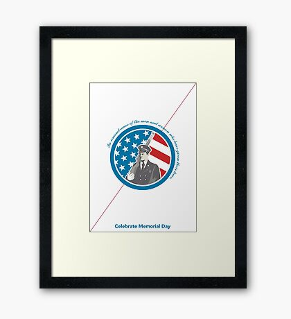 Memorial Day Greeting Card Soldier Military Serviceman Holding Rifle Framed Print