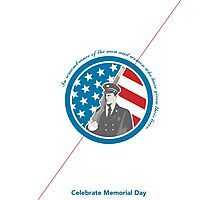 Memorial Day Greeting Card Soldier Military Serviceman Holding Rifle Photographic Print