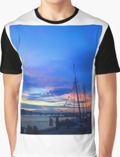 Sunset on the Boston harbor with a ship Graphic T-Shirt