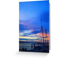 Sunset on the Boston harbor with a ship Greeting Card