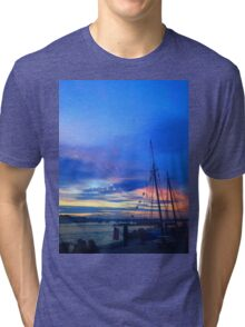 Sunset on the Boston harbor with a ship Tri-blend T-Shirt
