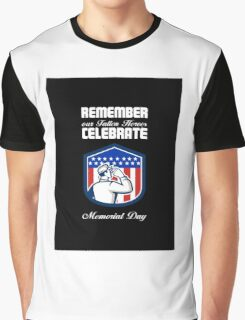 Memorial Day Greeting Card American Soldier Saluting Flag Graphic T-Shirt