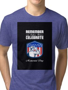 Memorial Day Greeting Card American Soldier Saluting Flag Tri-blend T-Shirt