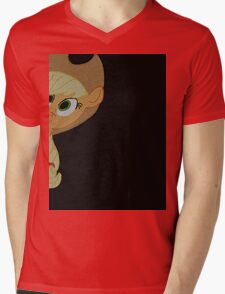 Applejack is curious. Mens V-Neck T-Shirt