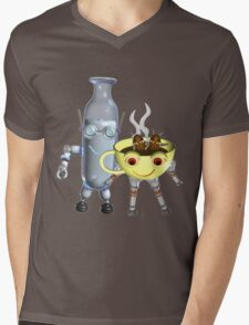 CoffeeBot and MilkBot by Valxart Mens V-Neck T-Shirt