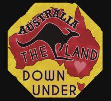 Australia Land Down Under Kangaroo Retro Luggage Sticker Baby Tee
