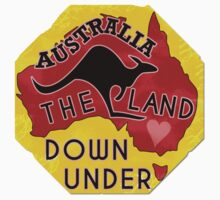 Australia Land Down Under Kangaroo Retro Luggage Sticker One Piece - Short Sleeve