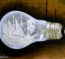 """Ship in a Lightbulb"" by BryanLanier"
