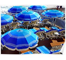 Blue Beach Umbrellas On The French Riviera Poster