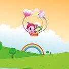 Cute Love Fox Couple & Rainbow Country Scene by scottorz