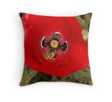 Poppy and 2 bees Throw Pillow