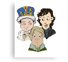 Sherlock Character Moriarty John Watson and Sherock Cartoon Canvas Print