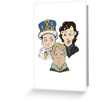 Sherlock Character Moriarty John Watson and Sherock Cartoon Greeting Card