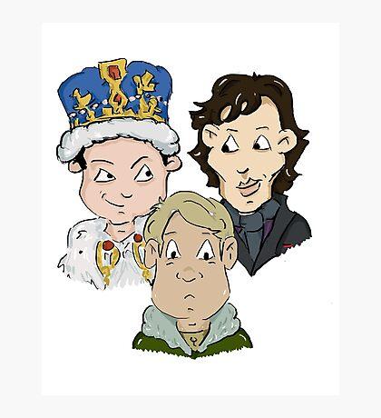 Sherlock Character Moriarty John Watson and Sherock Cartoon Photographic Print