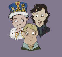 Sherlock Character Moriarty John Watson and Sherock Cartoon Kids Tee