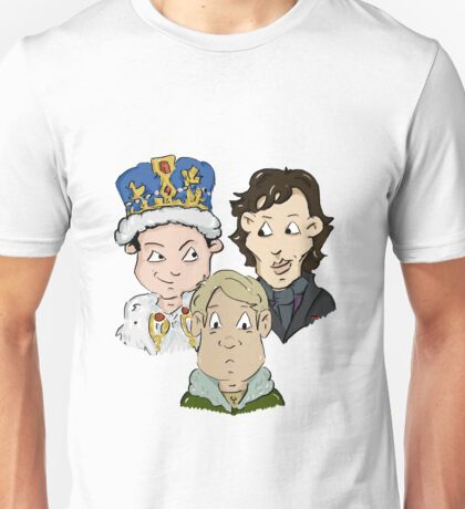 Sherlock Character Moriarty John Watson and Sherock Cartoon Unisex T-Shirt