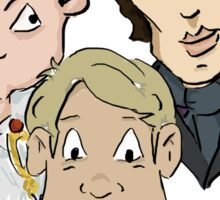 Sherlock Character Moriarty John Watson and Sherock Cartoon Sticker