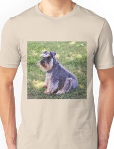 Schnauzer sitting on the grass Unisex T-Shirt