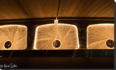 Spinning Steel Wool at Bombo Underpass, Kiama #2 by Kerrod Sulter