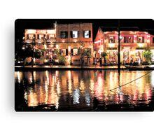 Hoi An, Vietnam, river and restaurants in soft tones Canvas Print