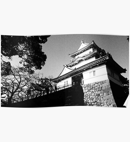 Odawara Castle Black and White Poster