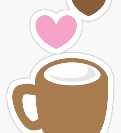 LOVE COFFEE funky retro simple coffee cup with love heart Sticker